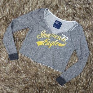 Distressed Gray Cropped Sweatshirt Top